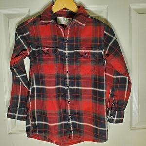 Boys flannel shirt, size small (8-10) red & black
